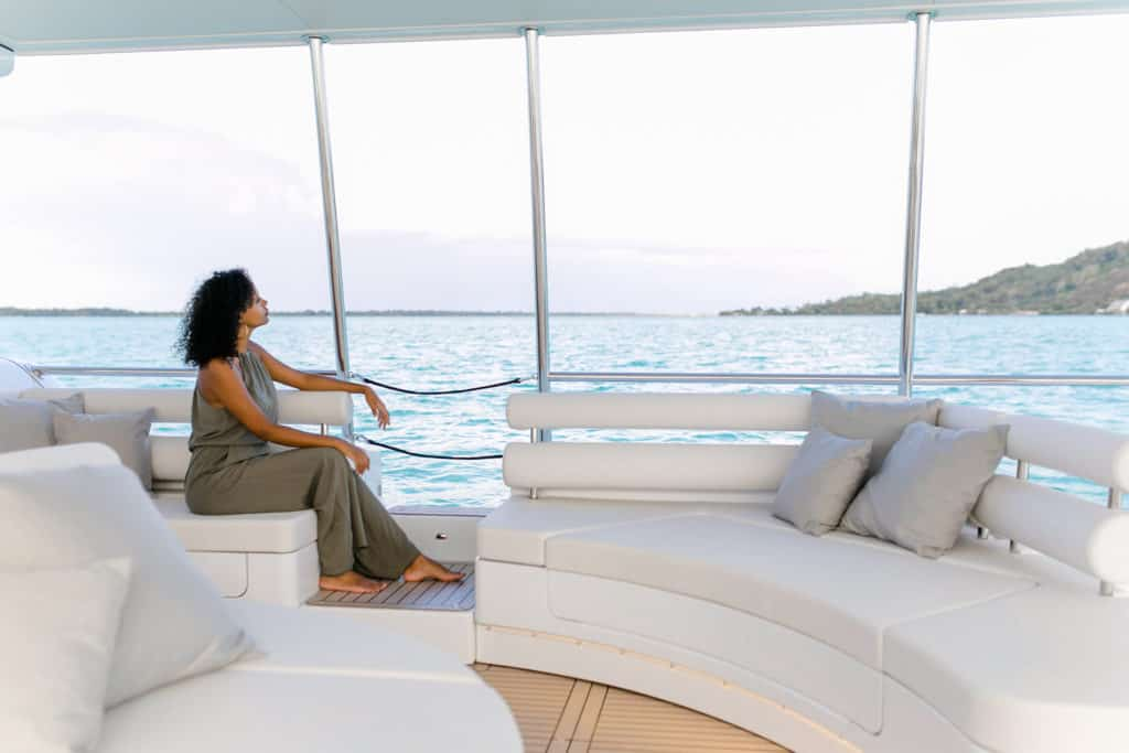 Relaxing times on board the solar electric boat, the SoelCat 12 from Soel Yachts