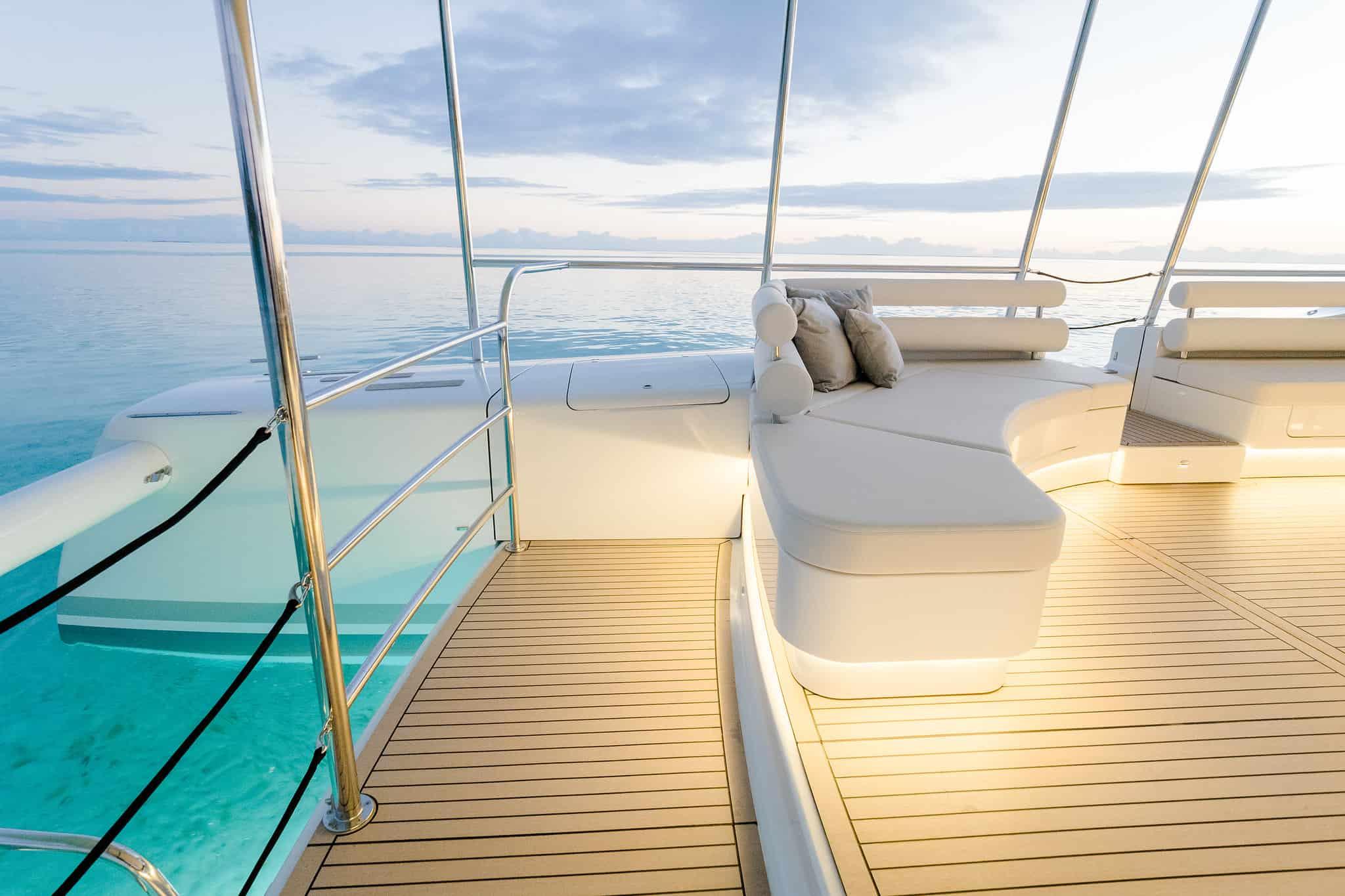 Electric boat SoelCat 12, called Okeanos Pearl is operating at the Bora Bora Pearl Beach Resort