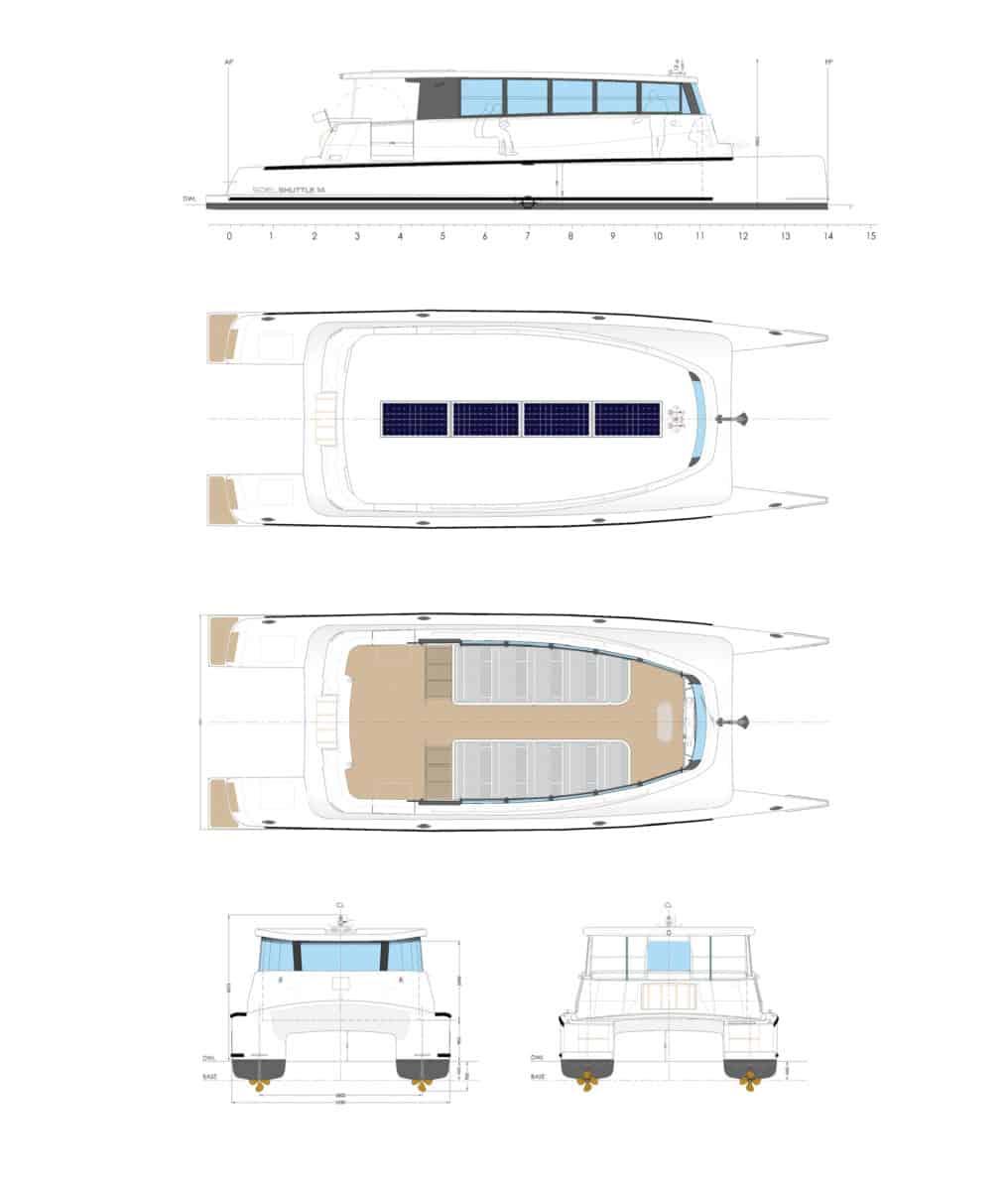 Side view solar electric yacht Soel Senses 48
