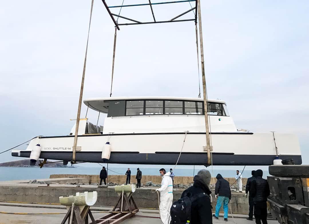 Sea trials solar electric ferry Soel Shuttle 14